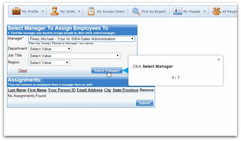 Assign employee screenshots