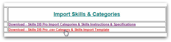 Import Skills and Categories